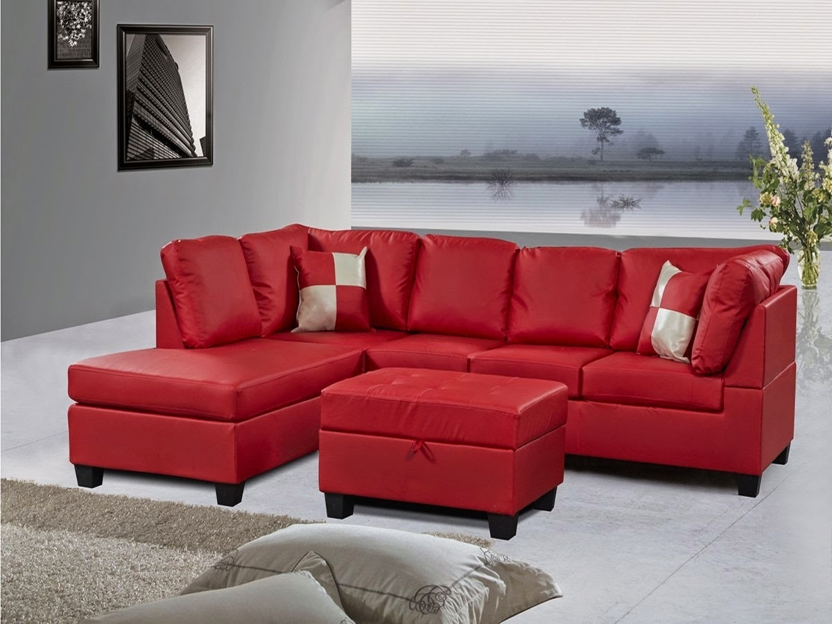 Beautiful Red Leather Sectional Sofa With Chaise Photos With Regard To Red  Leather Sectionals With Ottoman