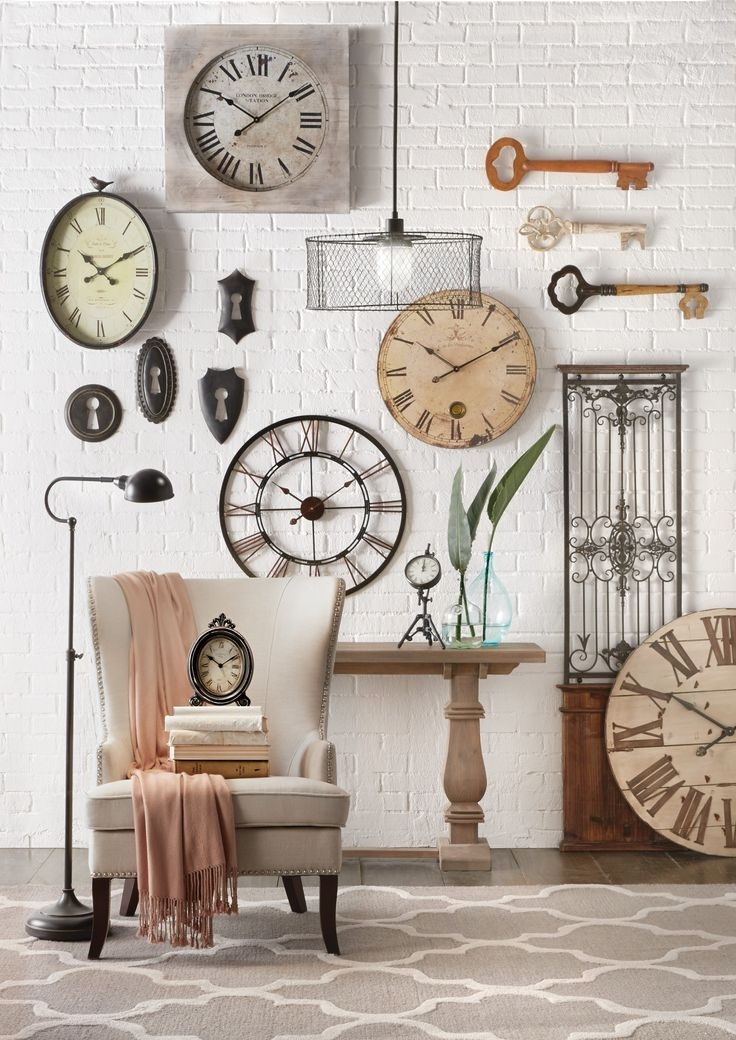 Beautiful Wall Decorating Ideas With Good Terrific Living Room Throughout Clock Wall Accents (Image 9 of 15)