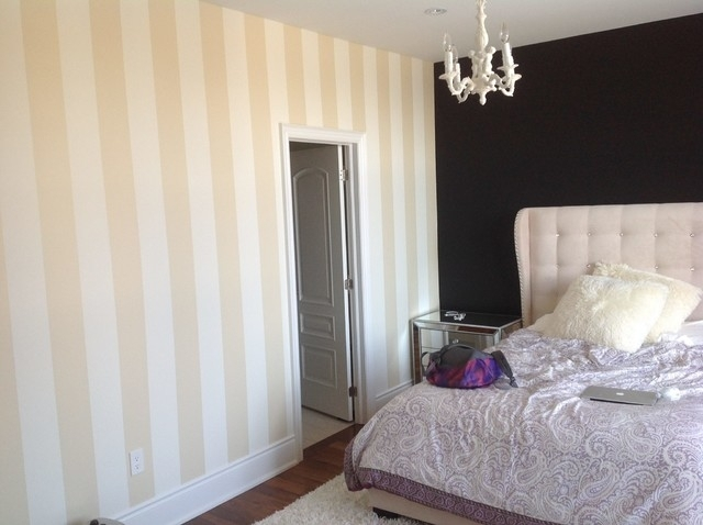 Bedroom 1 – After 2 – Vertical Gold Stripes And Black Accent Wall Regarding Vertical Stripes Wall Accents (View 6 of 15)