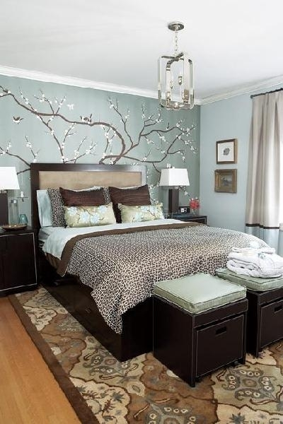 Bedroom Accent Wall – Contemporary – Bedroom – House & Home With Light Blue Wall Accents (Image 5 of 15)