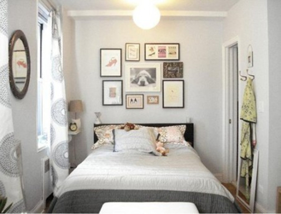 Bedroom: Astounding Image Of Small White And Gray Bedroom Throughout Wall Accents For Small Bedroom (Image 10 of 15)