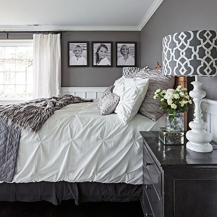 Bedroom : Bedroom Colors Gray Black Furniture Bedrooms With Walls Inside Grey And White Wall Accents (View 6 of 15)