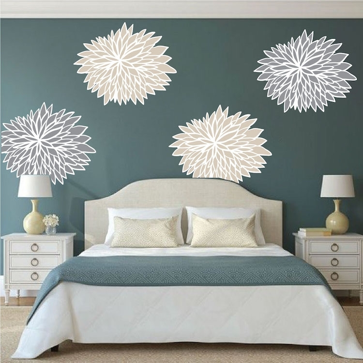 Bedroom Flower Wall Decals – Floral Wall Decal Murals – Primedecals With Murals Wall Accents (Image 5 of 15)