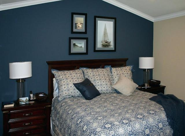 Bedroom With Blue Walls Blue Wall With Gold Accents Master Bedroom Throughout Light Blue Wall Accents (View 7 of 15)