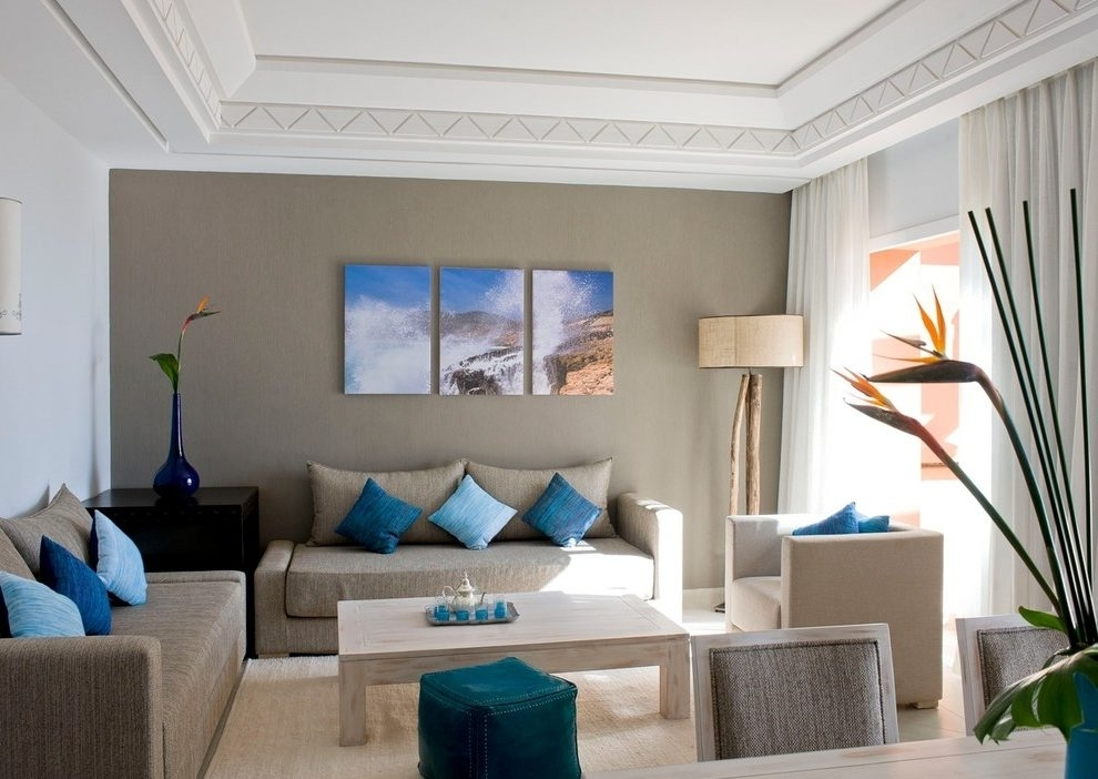 Beige Accent Wall Living Room Contemporary With Beige Sofa Dark Intended For Wall Accents For Beige Room (Image 4 of 15)