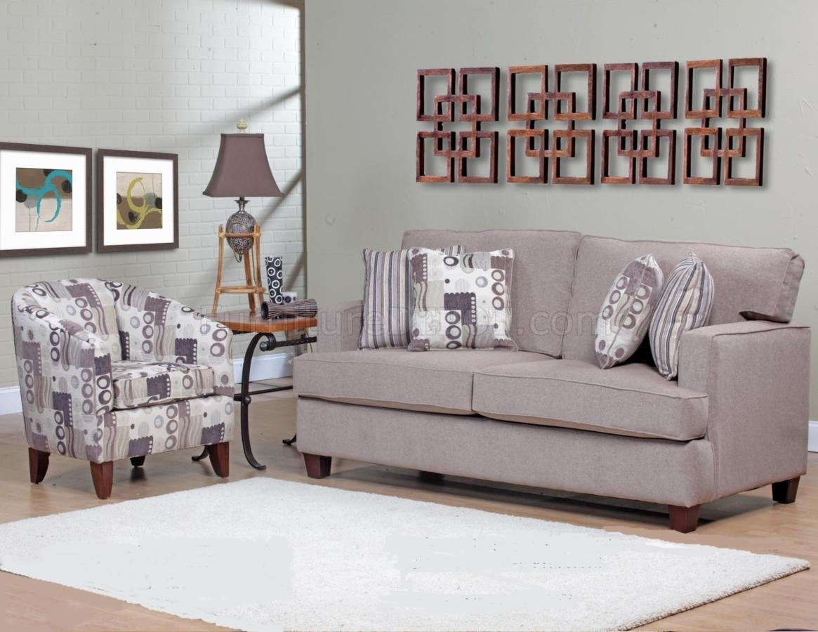 Beige Fabric Modern Sofa & Accent Chair Set W/options In Sofa And Accent Chair Sets (Image 3 of 10)