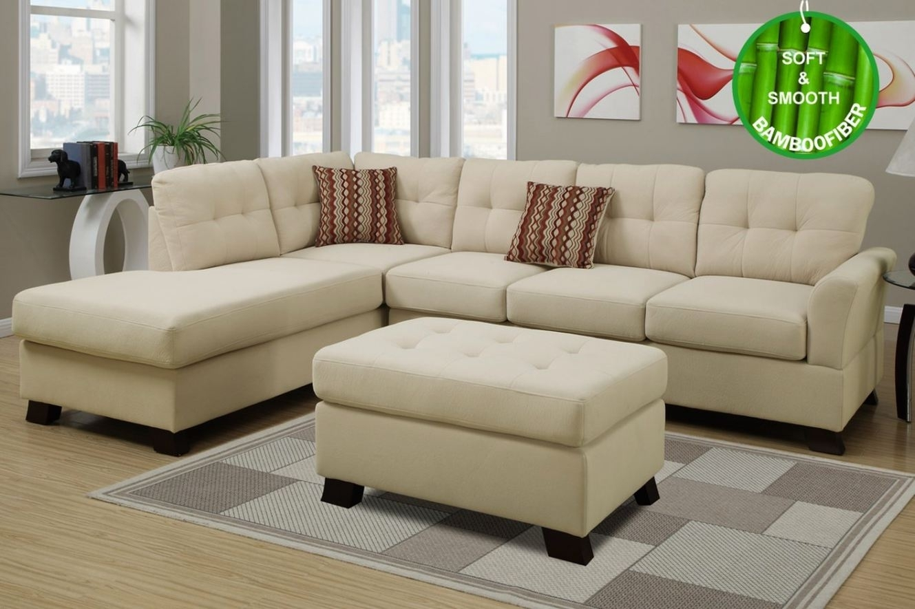 Beige Fabric Sectional Sofa And Ottoman ( Beige Sectional Sofas #3 For Beige Sectional Sofas (Image 2 of 10)