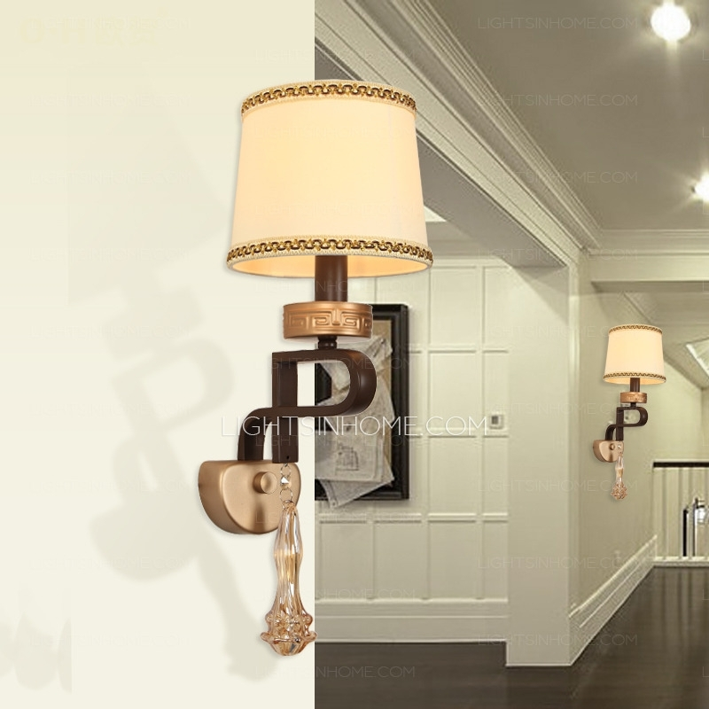 Beige Fabric Shade Art Deco Wall Lights Uk For Living Room In Art Deco Wall Fabric (Image 5 of 15)