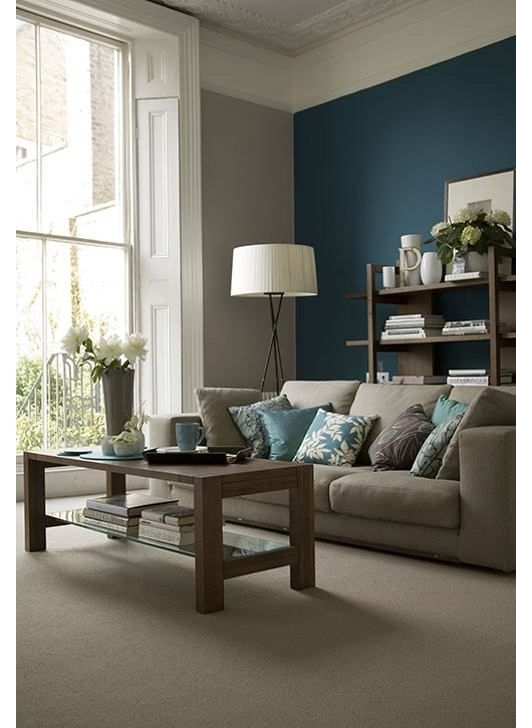 Beige Living Room With Teal Accent Wall | Lovely Living Rooms Intended For Wall Accents For Beige Room (Image 5 of 15)