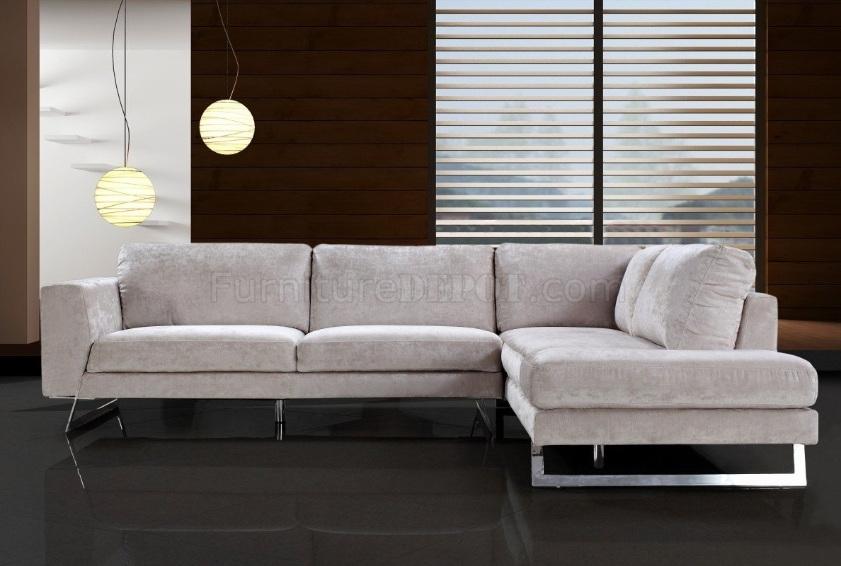 Beige Microfiber Modern Sectional Sofa W/chrome Metal Legs Within Modern Microfiber Sectional Sofas (View 3 of 10)