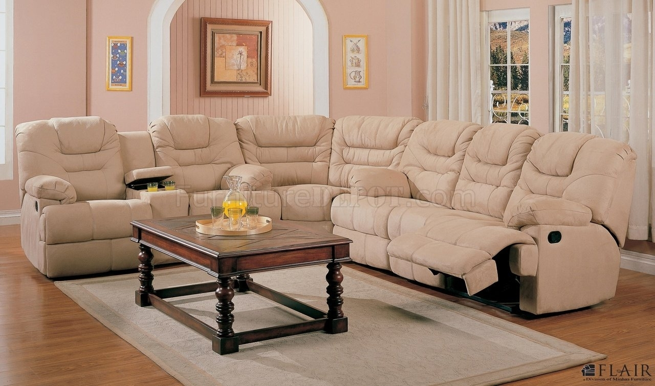 Beige Saddle Fabric Stylish Modern Reclining Sectional Sofa Intended For Reclining Sectional Sofas (Image 3 of 10)
