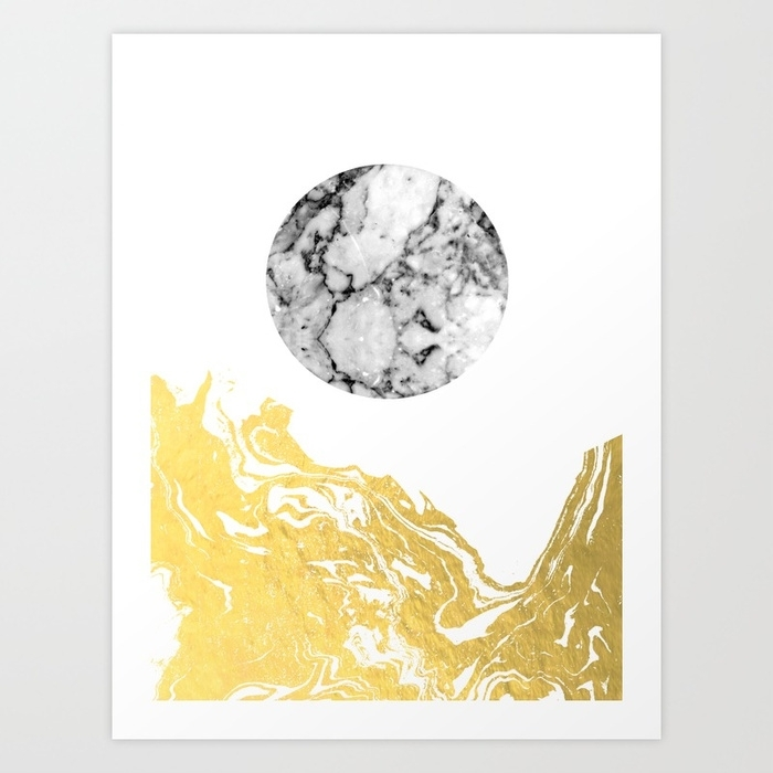 Bekke – Abstract Minimal White And Gold Modern Art Print Canvas Pertaining To Gold Canvas Wall Art (View 5 of 15)
