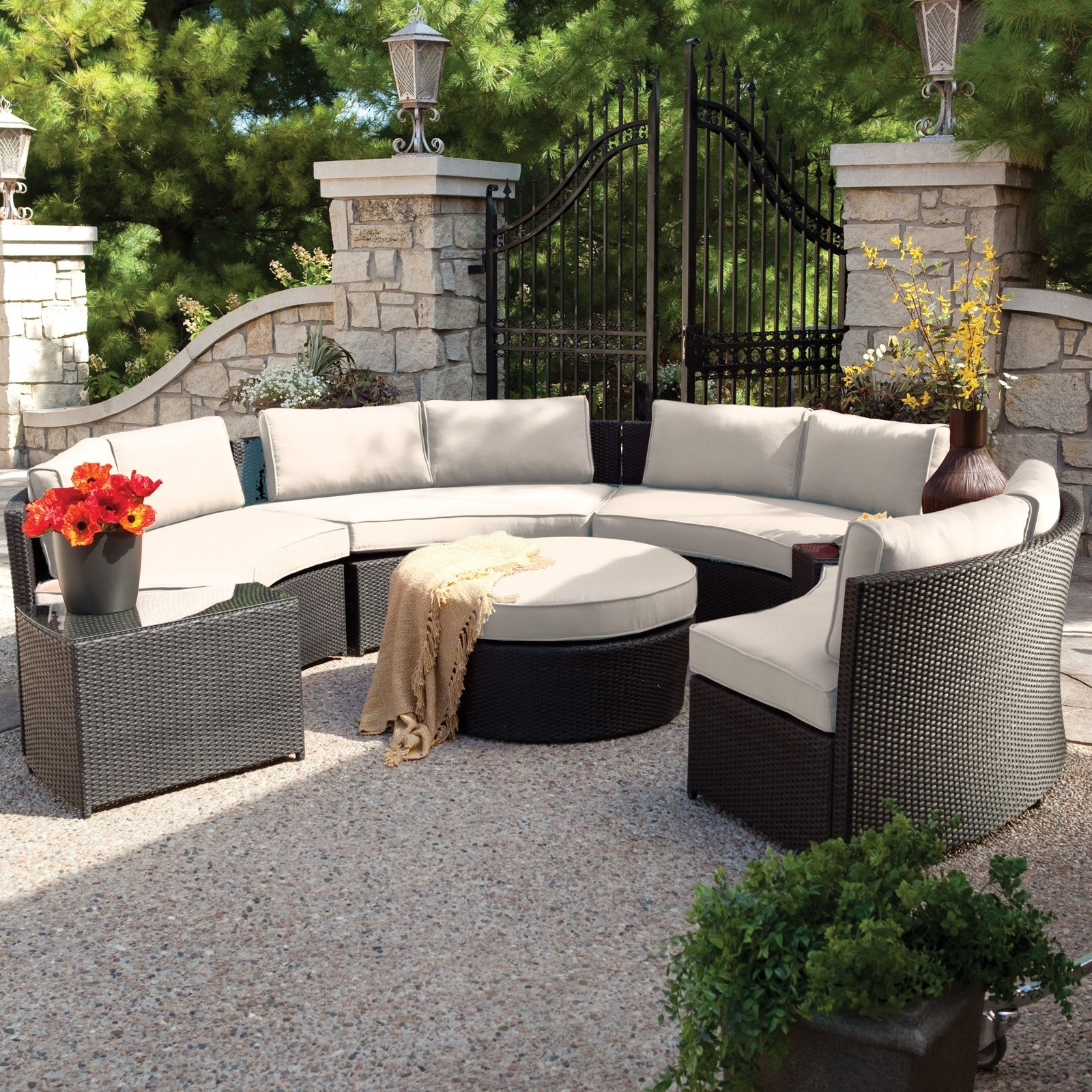 Belham Living Meridian Round Outdoor Wicker Patio Furniture Set With In Patio Sofas (Image 1 of 10)