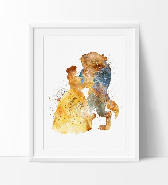 Belle, Beauty And The Beast, Watercolor Art, Disney Princess In Disney Framed Art Prints (View 10 of 15)