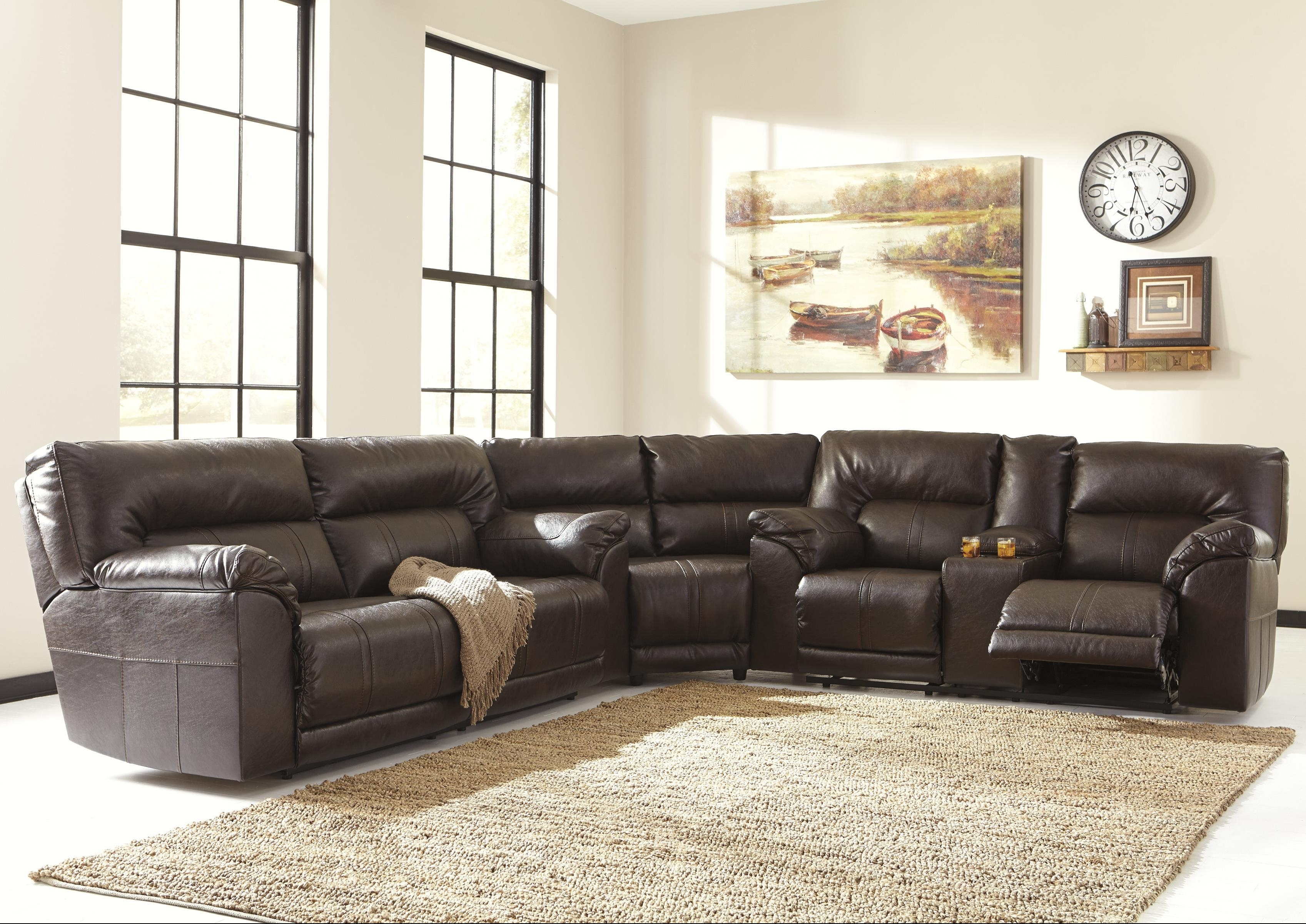 Benchcraft Barrettsville Durablend® 3 Piece Reclining Sectional With Regard To Reclining Sectional Sofas (Image 4 of 10)