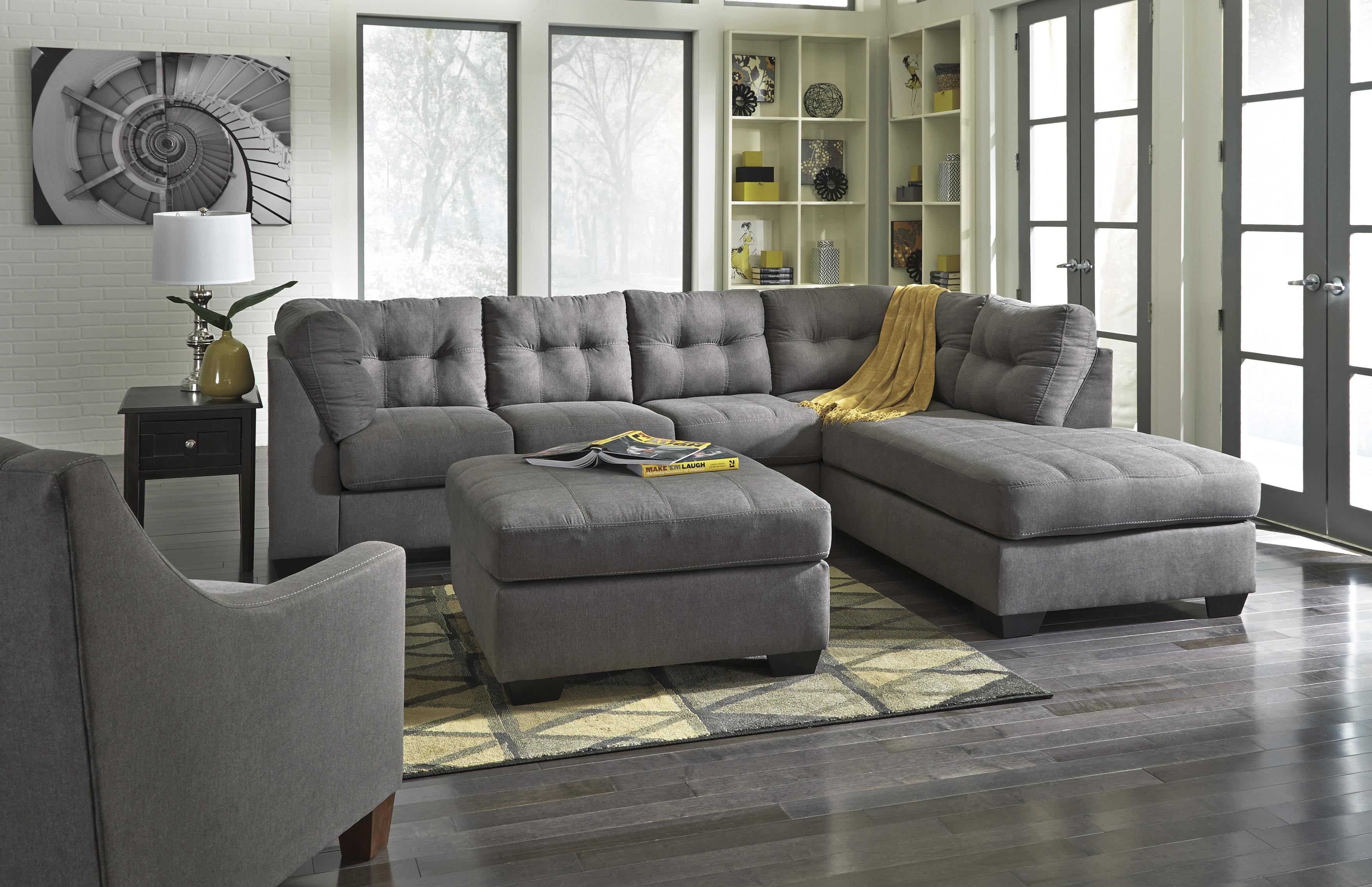 Benchcraft Maier – Charcoal 2 Piece Sectional With Right Chaise In Sectionals With Chaise And Ottoman (View 10 of 10)