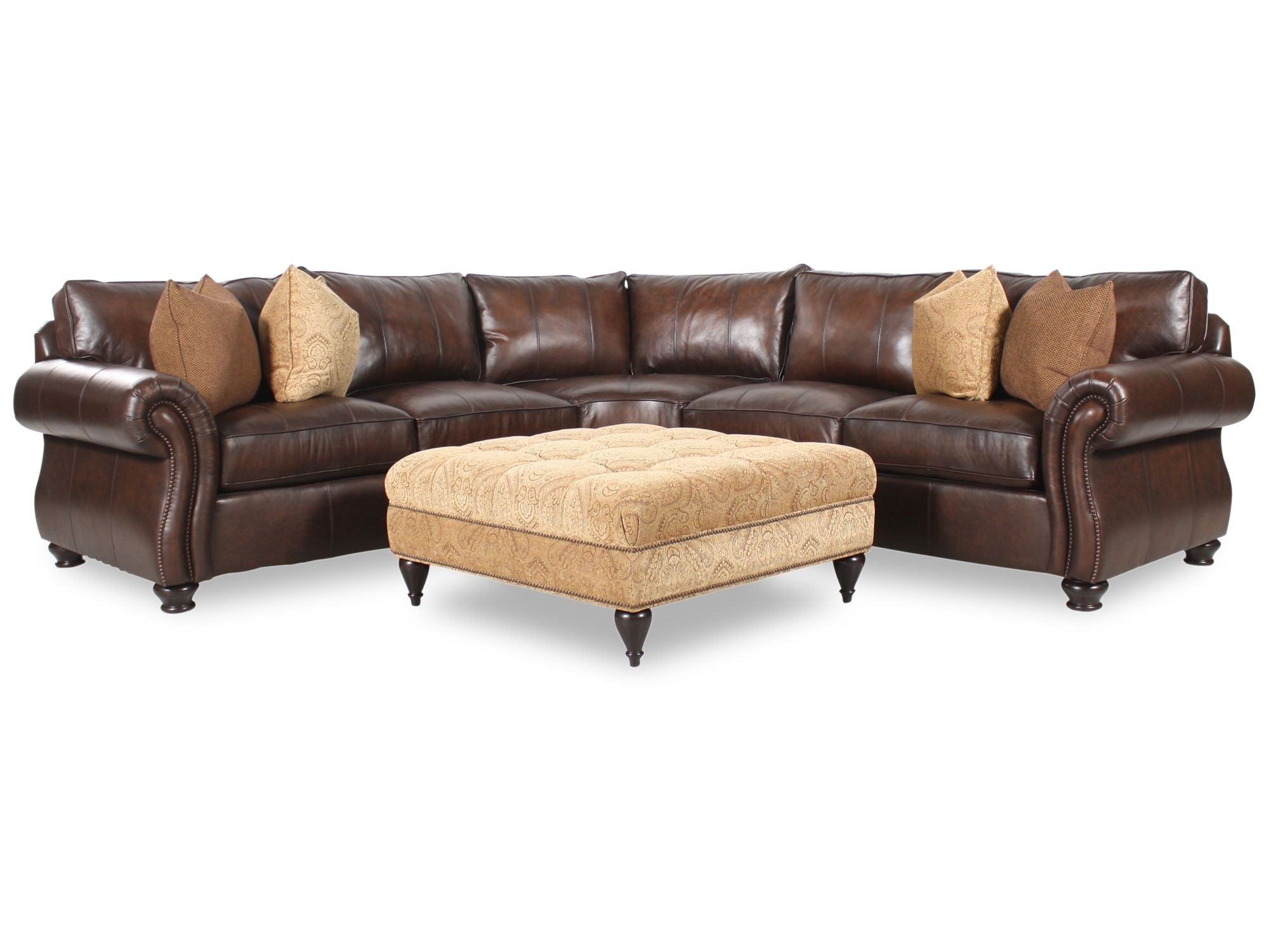 Bernhardt Van Gogh Two Piece Leather Sectional With Square Fabric Throughout Leather Sectional Sofas With Ottoman (Image 2 of 10)