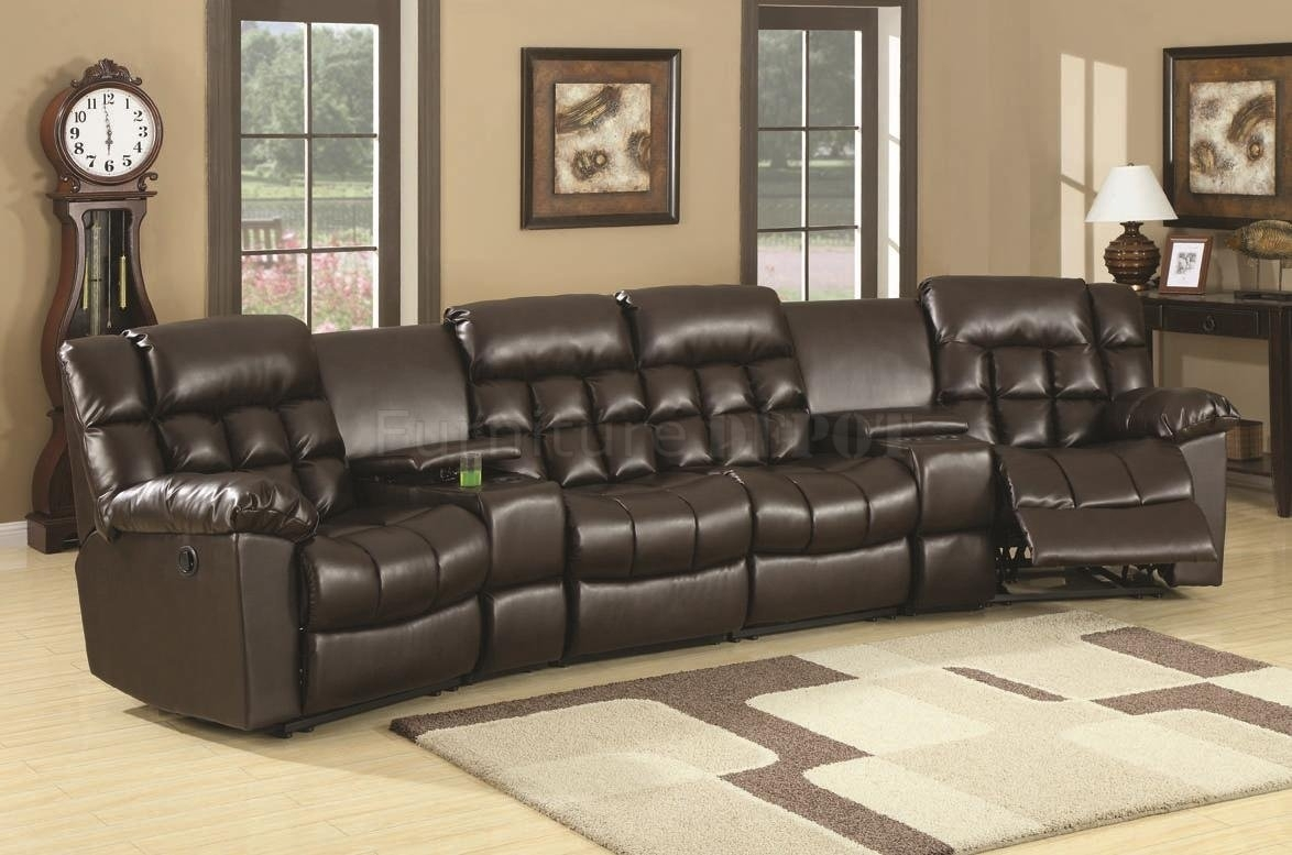 Best Brown Leather Sectional Sofas With Recliners 93 For Grey Tweed With Sectional Sofas With Recliners Leather (Image 1 of 10)