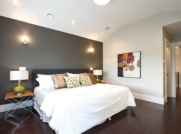 Best Grey Accent Wall In A White Bedroom With Ceiling Lights Intended For Grey And White Wall Accents (View 4 of 15)