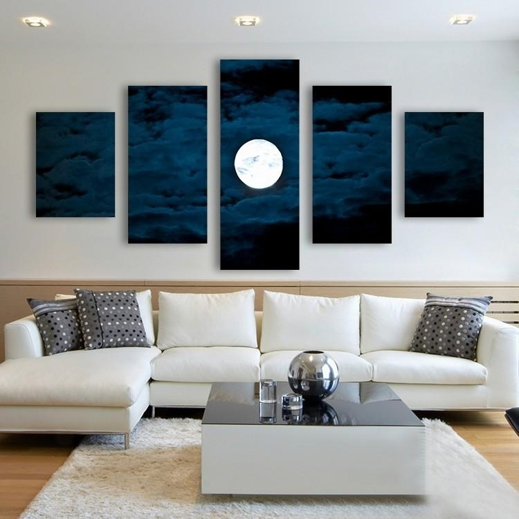 Best Home Decor Canvas Wall Art Decor Painting Moon At Night Wall Intended For Multi Panel Canvas Wall Art (Image 1 of 5)