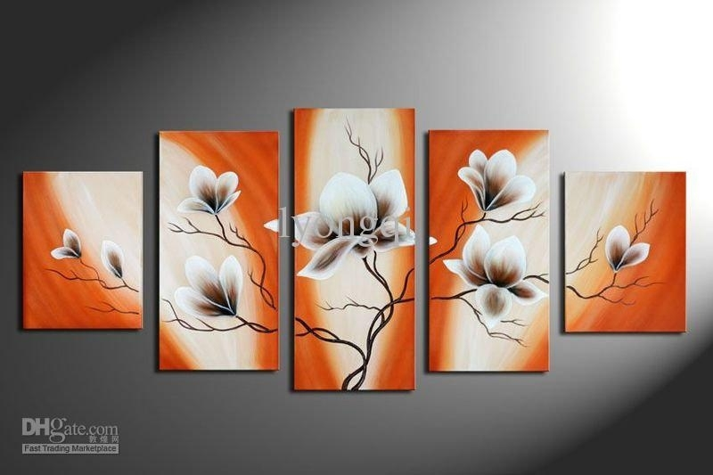 Best Quality Hand Painted Hi Q Modern Wall Art Home Decorative Within Orange Canvas Wall Art (Image 4 of 15)