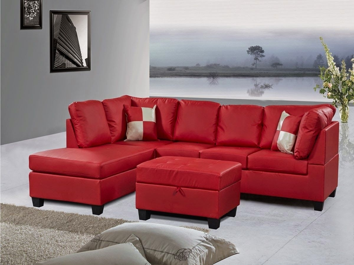 Best Red Leather Sectional Sofa Clearance Gray Modern For Concept For Red Leather Sectional Couches (Image 3 of 10)