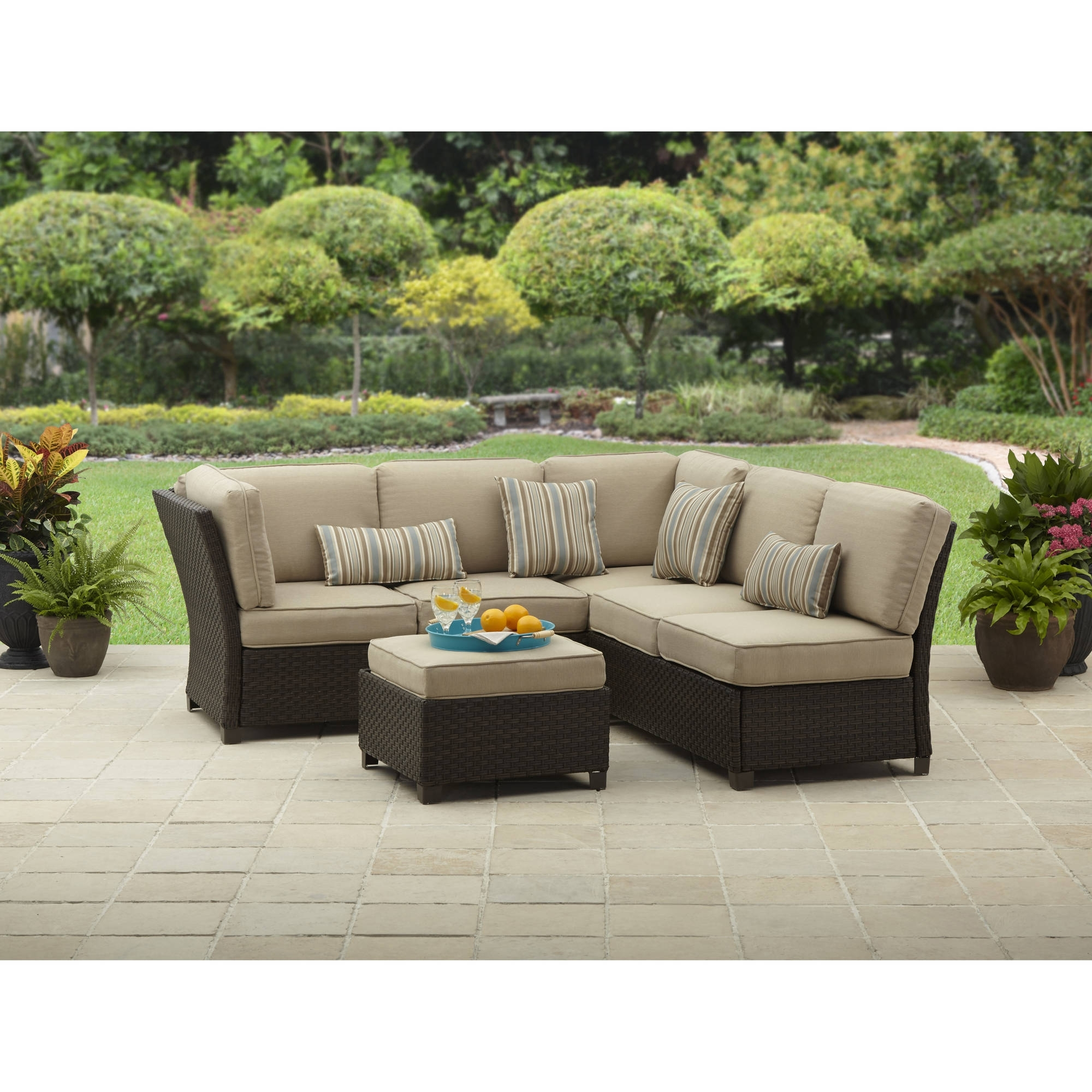 Better Homes And Gardens Cadence Wicker Outdoor Sectional Sofa Set Regarding Sectional Sofas At Walmart (Image 1 of 10)