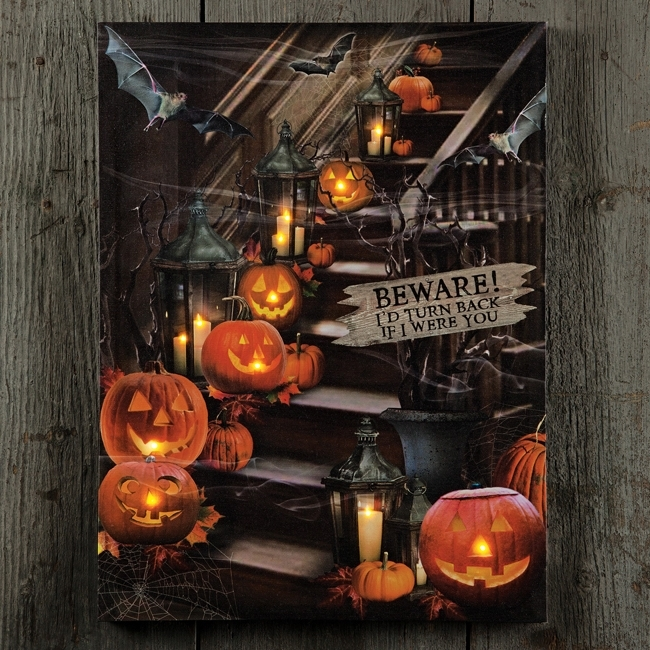 Beware Of The Stairs Lighted Canvas | Shoptalksturbridge In Halloween Led Canvas Wall Art (View 9 of 15)