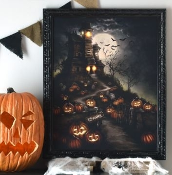 Beware The Haunted House Led Canvas Art Print | Halloween Diy And Within Halloween Led Canvas Wall Art (View 4 of 15)