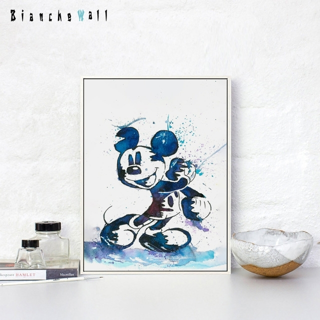 Bianche Wall Pretty Cartoon Art Watercolor Mickey Mouse Canvas Regarding Mickey Mouse Canvas Wall Art (View 7 of 15)
