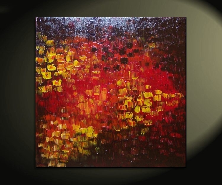 Big Abstract Textured Painting Red Red Brown Orange Fall Colors Pertaining To Ottawa Abstract Wall Art (View 7 of 15)