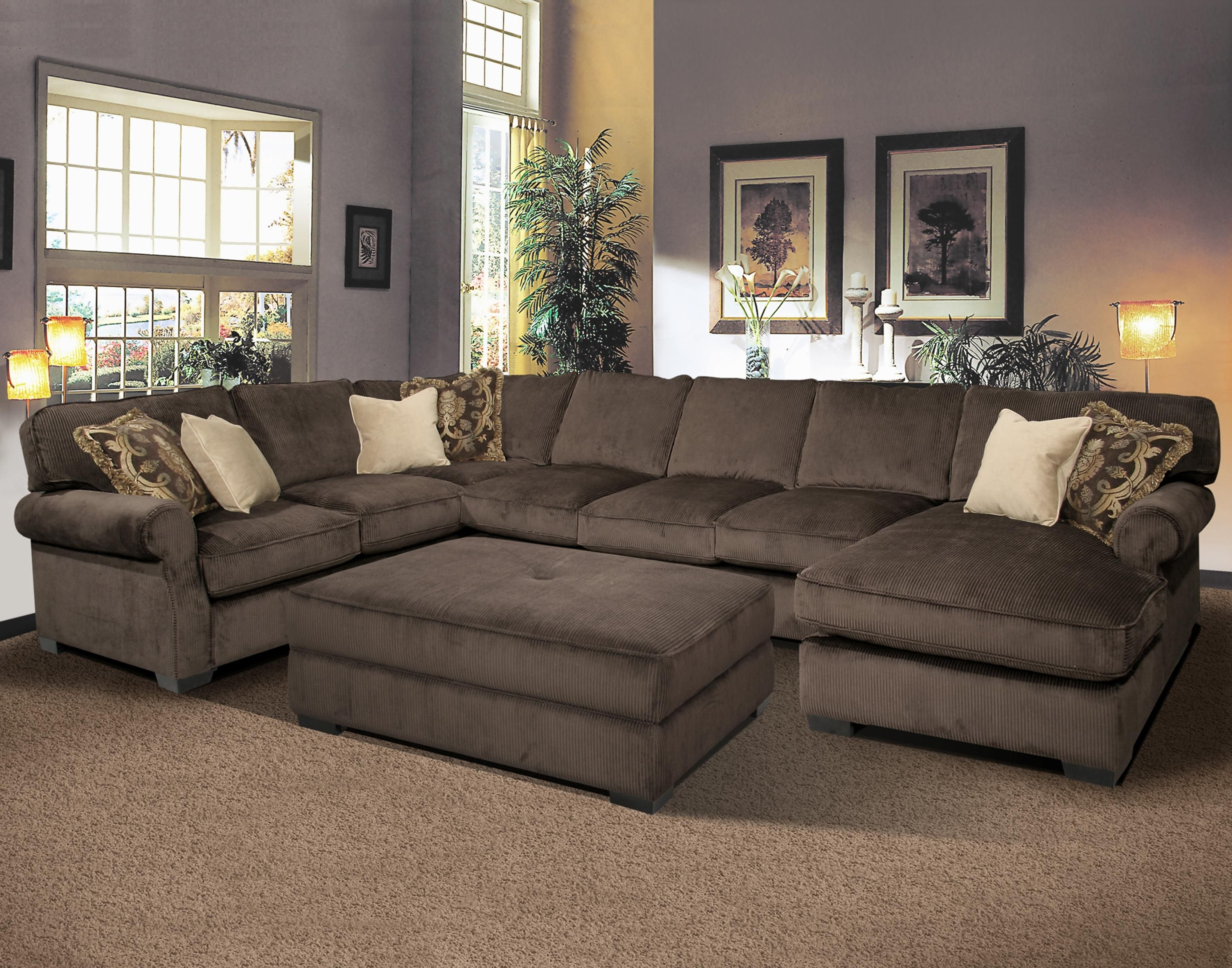Big And Comfy Grand Island Large, 7 Seat Sectional Sofa With Right Throughout Long Sectional Sofas With Chaise (Image 3 of 10)