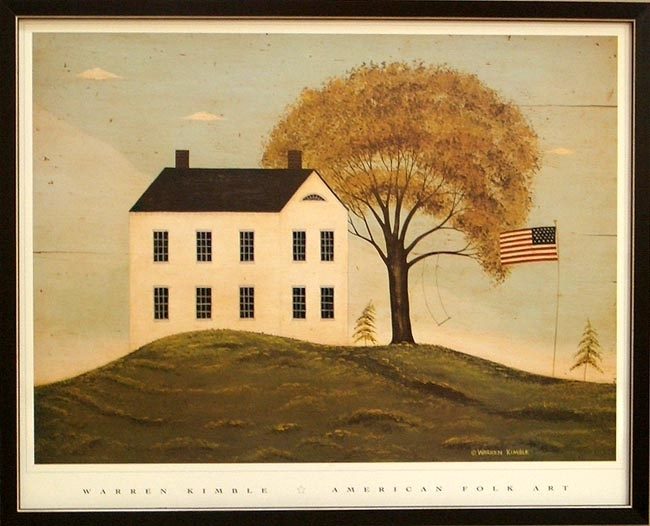 Big House With Flagwarren Kimble – Framed Art Print At For American Folk Art Framed Prints (View 6 of 15)