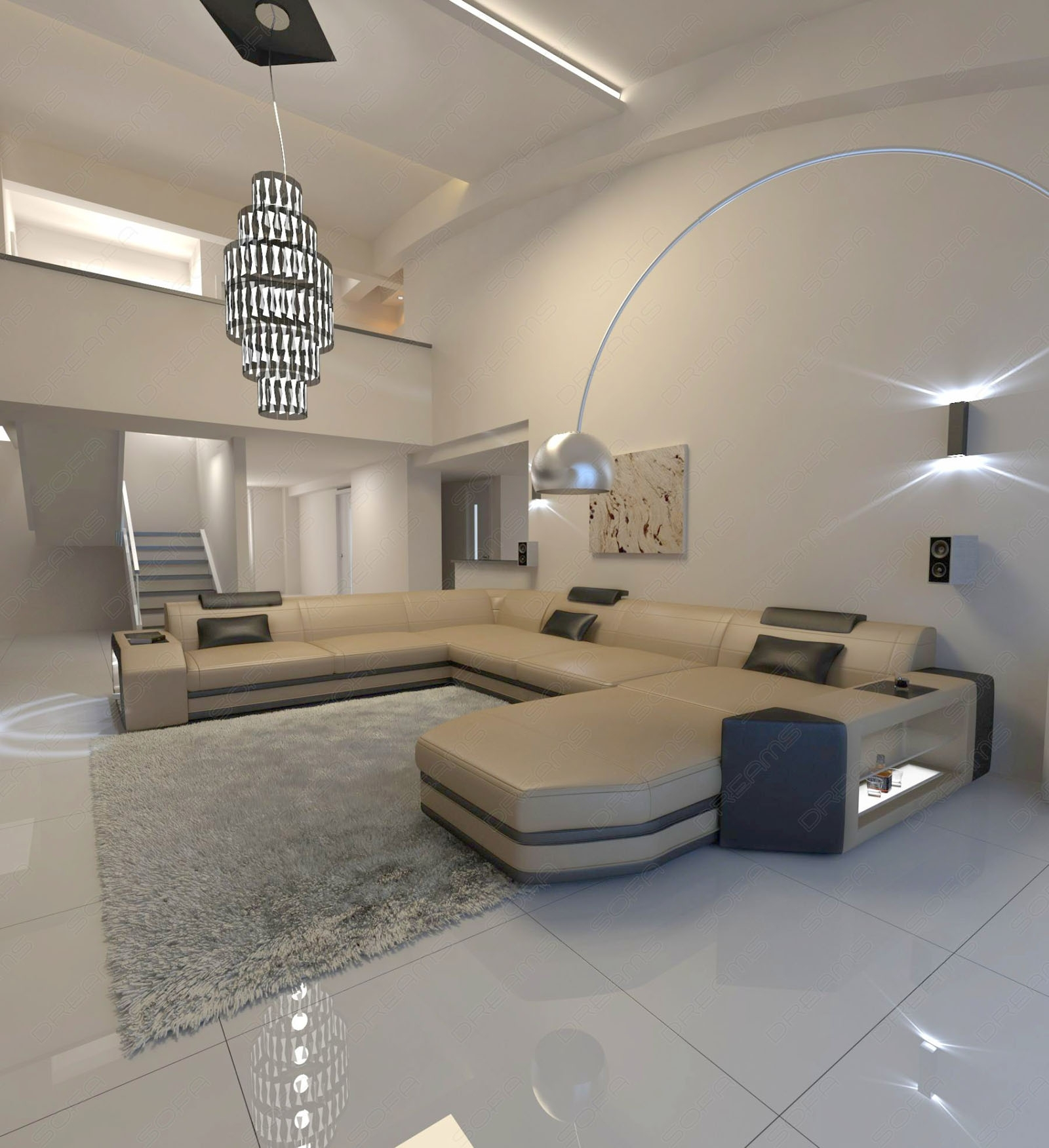 Big Sectional Leather Sofa Prato Xxl With Led Lights Remote Pertaining To Sectional Sofas From Europe (Image 1 of 10)