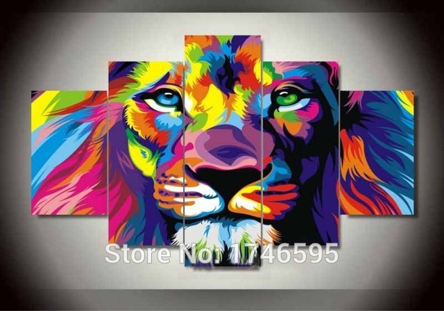 Big Size Abstract Living Room Wall Decor Colorful Wall Art Picture For Lion King Canvas Wall Art (Image 5 of 15)