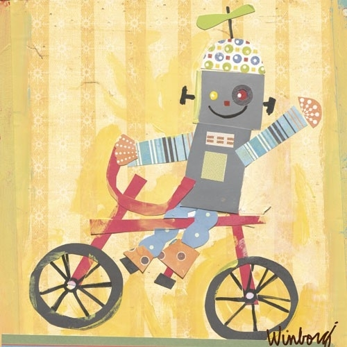 Biking Robot Canvas Wall Artoopsy Daisy – Rosenberryrooms With Regard To Robot Canvas Wall Art (Image 3 of 15)