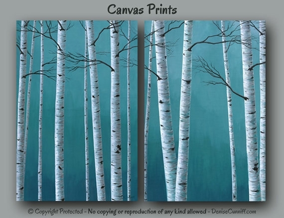 Birch Tree Painting Canvas Print Set 2 Piece Large Wall Within Birch Trees Canvas Wall Art (View 14 of 15)