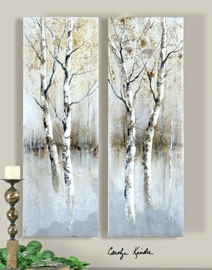 Birch Tree Wall Art Contemporary Panel Artwork Birch Tree Panel Regarding Birch Trees Canvas Wall Art (View 7 of 15)