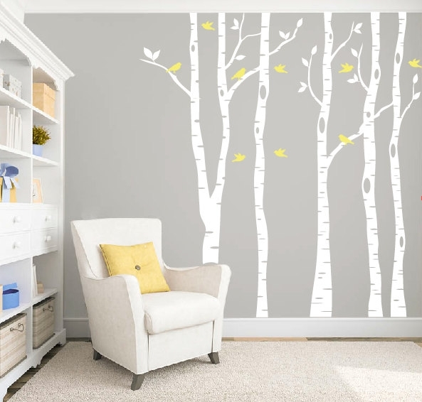 Birch Tree Wall Decal | Designed Beginnings Pertaining To Wall Accent Decals (Image 5 of 15)