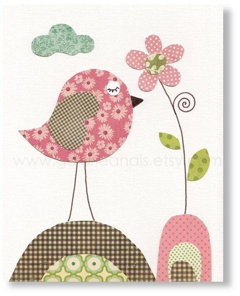 Bird Nursery Decor Kids Wall Art – Baby Nursery Decor – Nursery With Regard To Fabric Bird Wall Art (View 8 of 15)