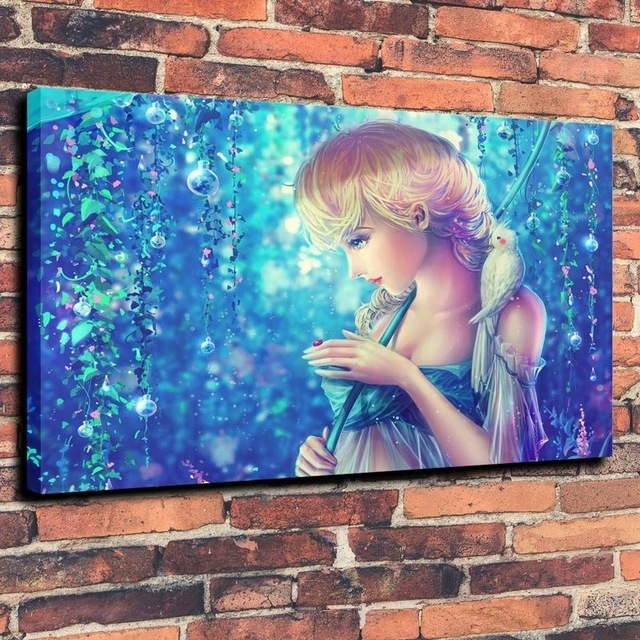 Bird Parrot Dew Princess Elsa Rainbow Wallpaper Print Oil Painting Within Elsa Canvas Wall Art (Image 8 of 15)