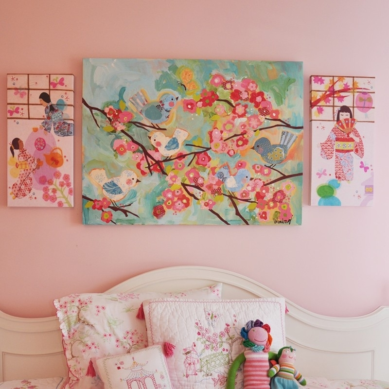 Birdies And Branches Canvas Wall Artoopsy Daisy For Girl Canvas Wall Art (Image 3 of 15)