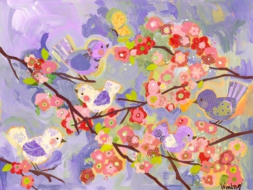 Birdies And Branches Lilac Canvas Wall Artoopsy Daisy For Lilac Canvas Wall Art (View 11 of 15)