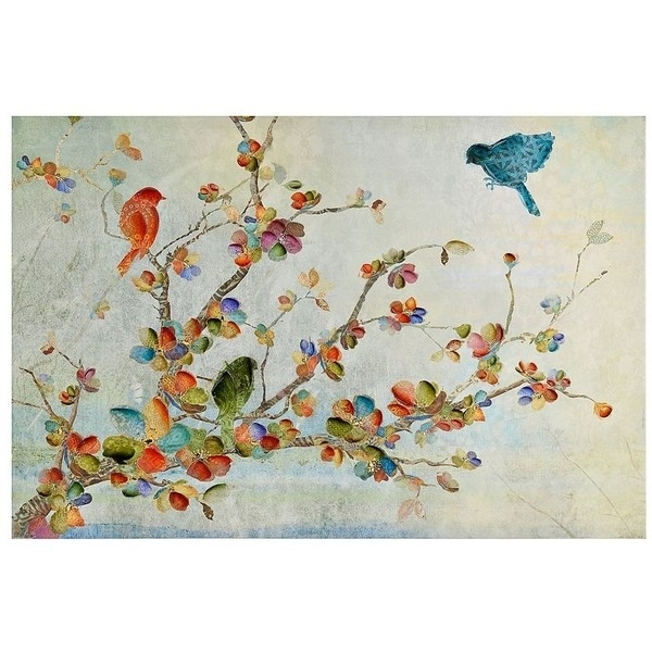 Birds And Branches Canvas Art Print (735 Uah) ❤ Liked On Polyvore Within Birds Canvas Wall Art (Image 5 of 15)