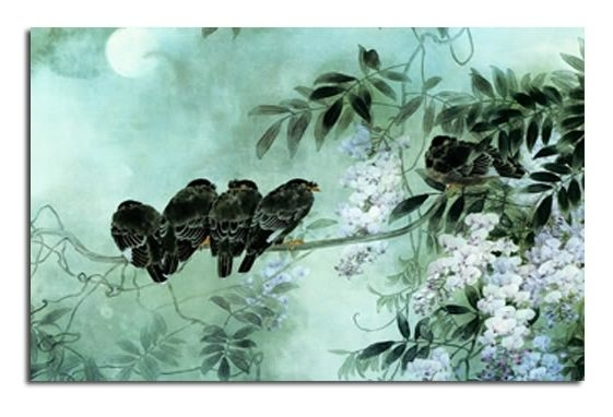 Birds On Blossom – Duck Egg Blue Canvas Wall Art Picture 30X20 Inch With Duck Egg Blue Canvas Wall Art (Image 1 of 15)