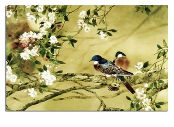 Birds On Plum Blossom In Natural Earthy Green Tones Canvas Wall Inside Birds Canvas Wall Art (View 4 of 15)