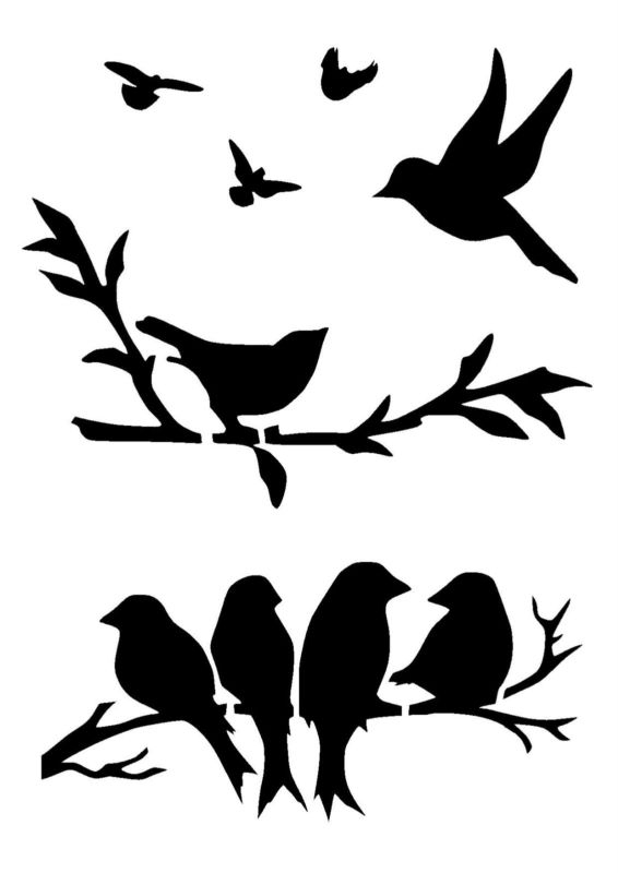 Birds Stencil 3 Craft,fabric,glass,furniture,wall Art | Bird Intended For Fabric Animal Silhouette Wall Art (View 4 of 15)