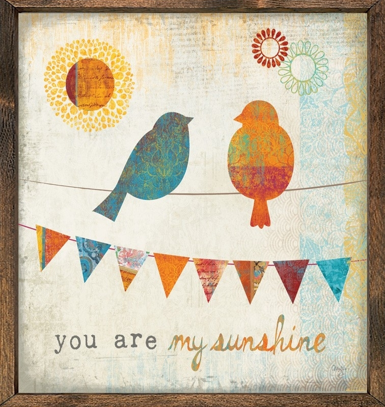 Birds You Are My Sunshine Vintage Framed Art Print With Birds Framed Art Prints (View 10 of 15)