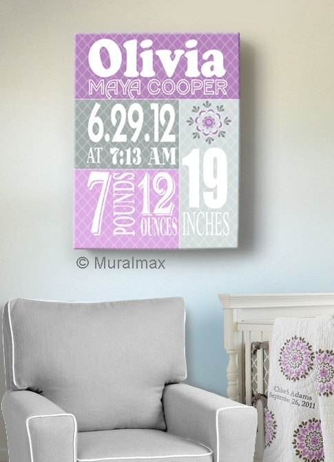Birth Announcement Print Purple Baby Girl Nursery Wall Art With Regard To Nursery Canvas Wall Art (Image 8 of 15)