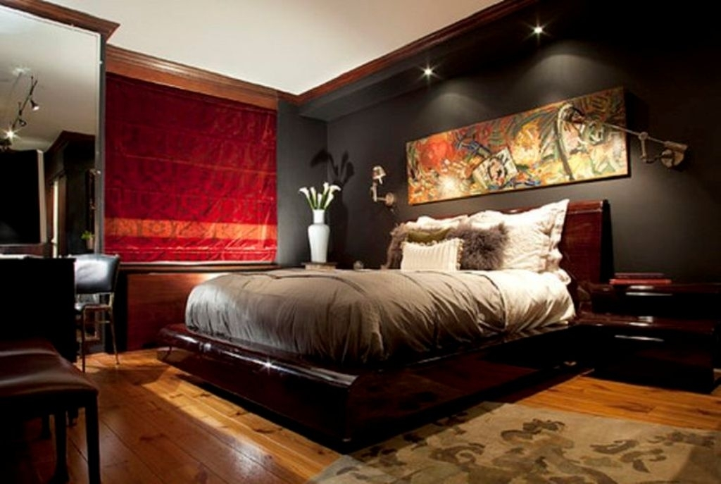 Black Accent Wall With Contemporary Wall Art For Modern Bedroom Regarding Wall Art Accents (Image 3 of 15)